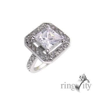 【RingCity】鋯石方形鑽戒(白鑽色系列)