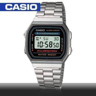 【CASIO 卡西歐】日系-銀色復古風電子錶(A168WA)