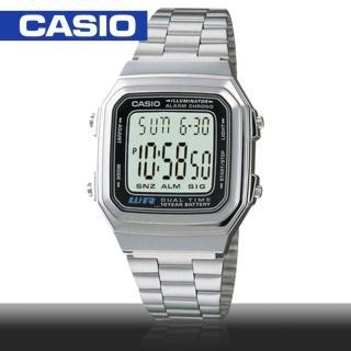 【CASIO 卡西歐】日系-銀色復古風電子錶(A178WA)