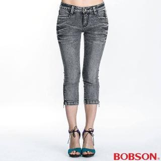 【BOBSON】女款側拉鍊裝飾七分褲 灰87