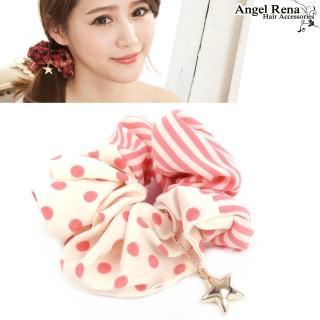 【Angel Rena】水玉點點線條˙星星墜飾髮束(粉紅白)