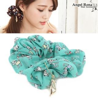 【Angel Rena】普普風尚˙貓咪墜飾大腸圈髮束(水綠)