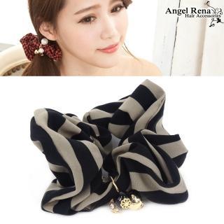 【Angel Rena】經典條紋˙水晶珠珠墜飾髮束(黑卡其)