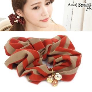 【Angel Rena】經典條紋˙水晶珠珠墜飾髮束(愛瑪橘)