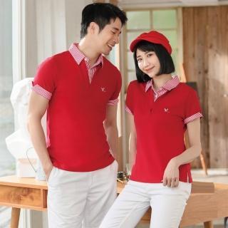 【LEIDOOE】深紅搭配線條假兩件男款短袖POLO衫(76162)