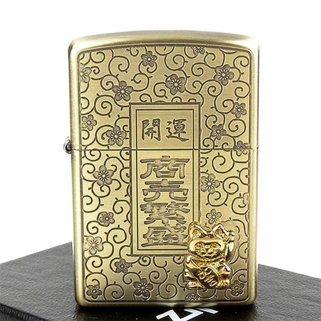 【ZIPPO】日系-開運-商賣繁盛-招財貓貼飾蝕刻加工打火機