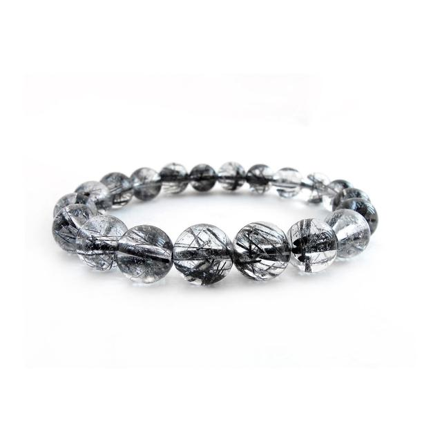 【Hera】頂級晶透濃密黑髮晶手珠(10mm)
