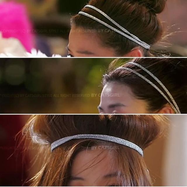 【梨花HaNA】韓國來自星星的你千頌伊雙層銀蔥彈力髮帶F01