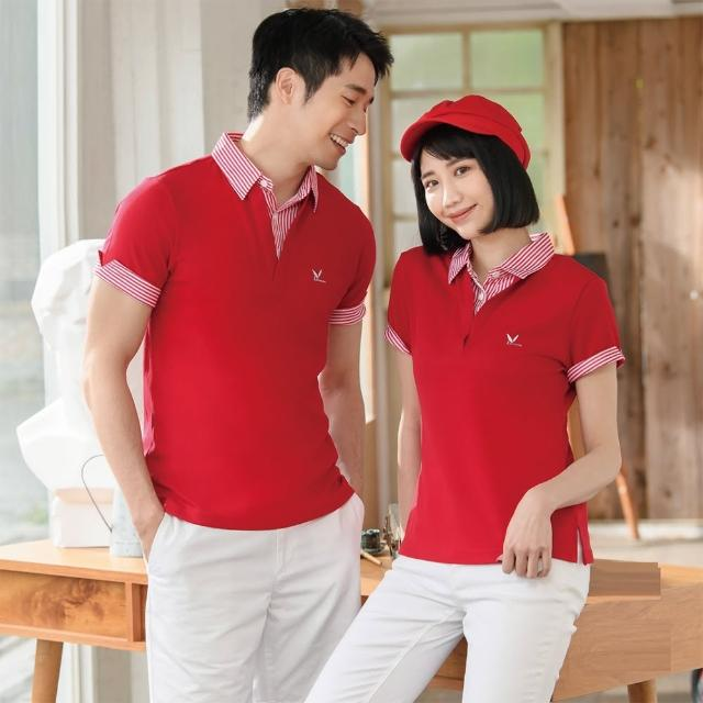 【LEIDOOE】深紅搭配線條假兩件女款短袖POLO衫(76262)