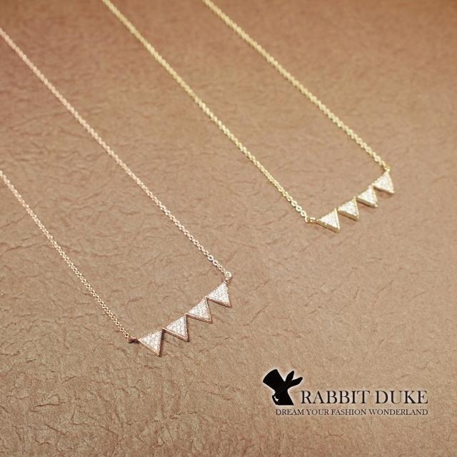 【RD 兔子公爵】現貨 經典歐美風格 個性倒三角排列超好搭設計項鍊(二色)