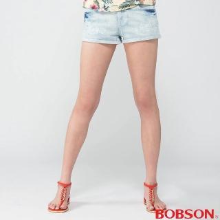 【BOBSON】女款花朵刺繡牛仔短褲 淺藍201-80