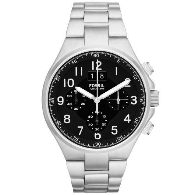 【FOSSIL】領袖資格三環計時腕錶-黑面銀(CH2902)