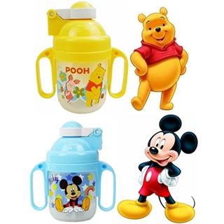 【迪士尼家族】250ml幼兒雙耳學習吸口水杯2入組(維尼熊+米奇)