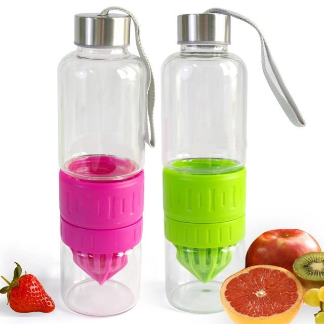 3合1多功能玻璃榨汁隨手瓶/檸檬杯500ml(買一送一)