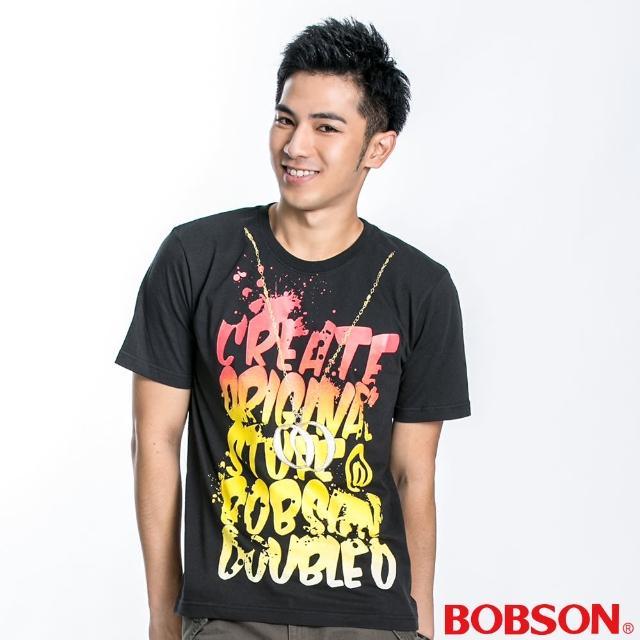 【BOBSON】男款漸層字母短袖上衣(墨綠21045-46)