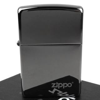 【ZIPPO】美系-LOGO字樣打火機-超質感Black ice黑冰色鏡面(寬版)