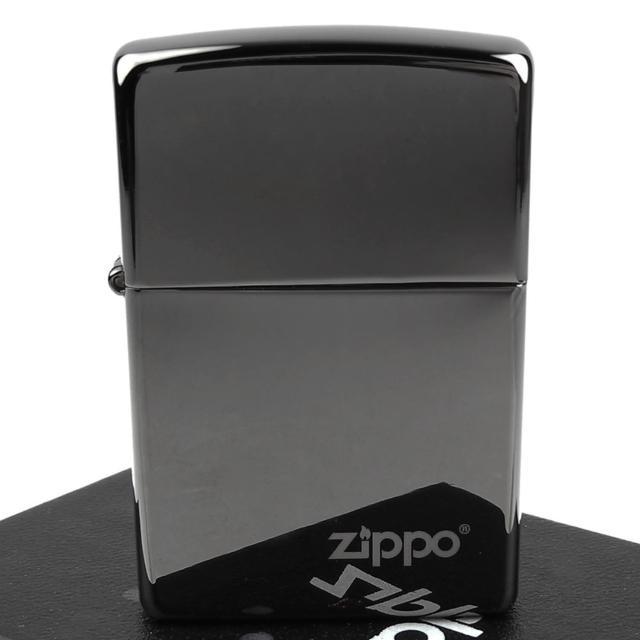 【ZIPPO】美系-LOGO字样打火机-超质感Black ice黑冰色镜面(宽版)