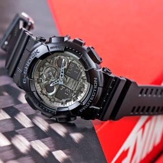 【CASIO 卡西歐】G-SHOCK 潮流迷彩指針數位雙顯錶款(黑-GA-100CF-1A)