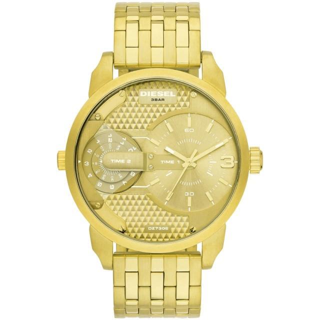 【DIESEL】航行者二地時間個性時尚腕錶-金(DZ7306)