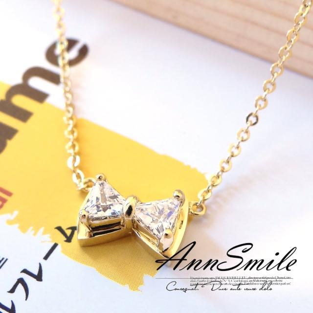 【微笑安安】韓製鋯石鑲嵌蝴蝶結鎖骨項鍊(共2色)