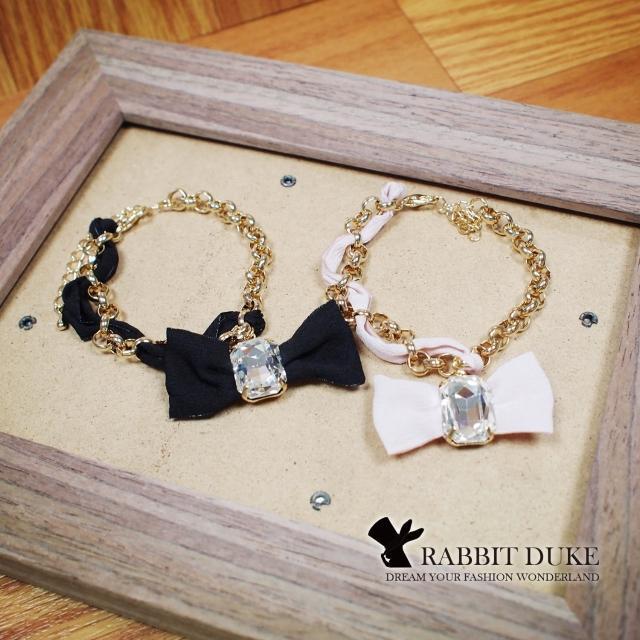 【RD 兔子公爵】現貨 經典歐美風格 個性可愛蝴蝶結緞帶大寶石手鍊(二色)