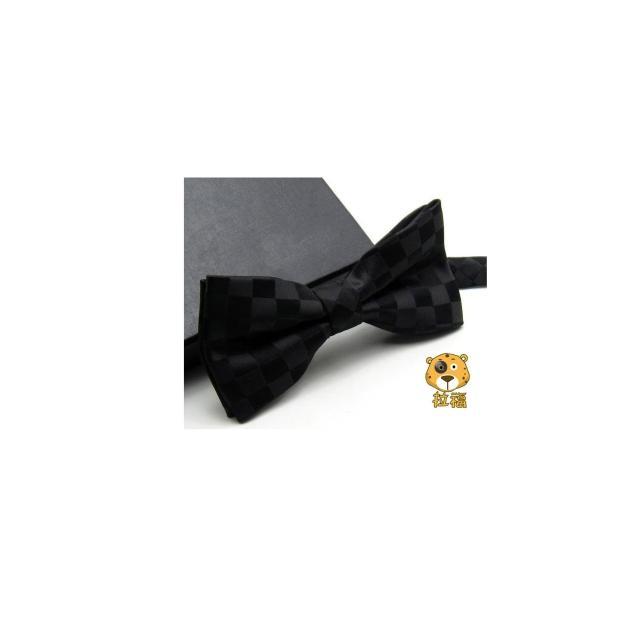 【拉福】黑格紋領結男生領結糾糾結婚領結(黑底格紋)