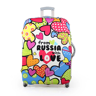 【PUSH! 旅遊用品】炫彩心行李箱 拉桿箱 登機箱 彈力保護套 防塵套 拖運套(18-22寸適用)