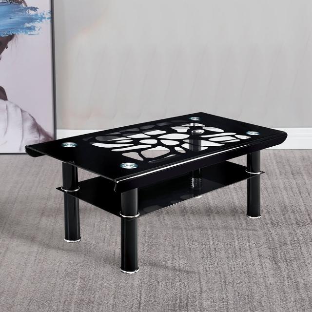 【AT HOME】現代簡約精美紋路3.3尺黑色大茶几(100x50x44cm)