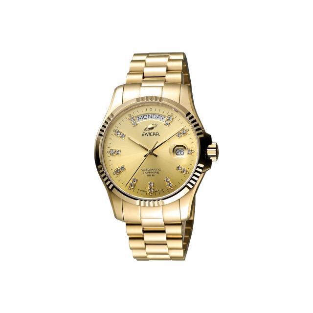 【ENICAR】英納格 自動系列璀燦晶鑽機械腕錶-金/40mm(3169-50-330P)