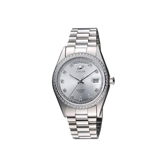【ENICAR】英納格 自動恆動晶鑽機械腕錶-銀/38mm(3169-50-39aI)