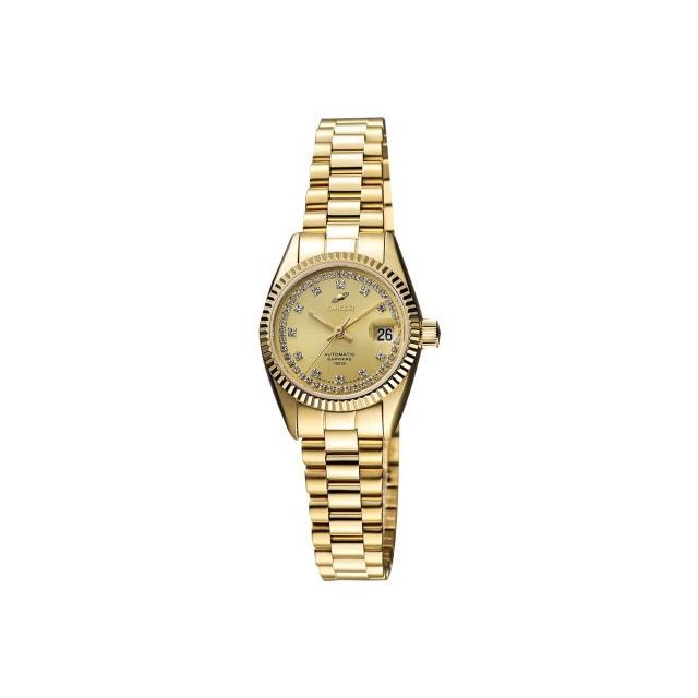 【ENICAR】英納格 自動系列恆動晶鑽機械女錶-金/24mm(778-52-18PI)