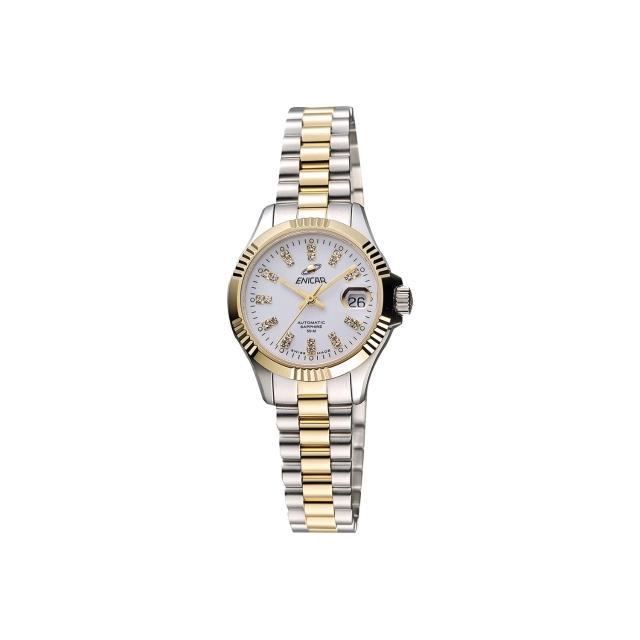 【ENICAR】英納格 自動系列璀燦晶鑽機械女錶-白x雙色版/28mm(780-50-330G)
