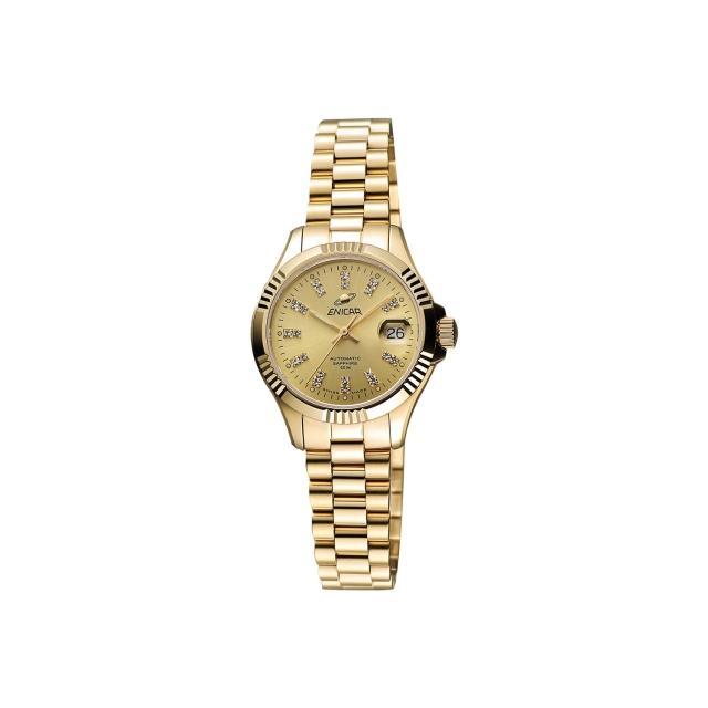 【ENICAR】英納格 自動系列璀燦晶鑽機械女錶-金/28mm(780-50-330P)