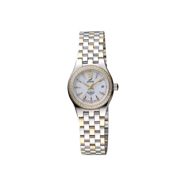 【ENICAR】英納格 傳真系列時尚晶鑽機械女錶-白x雙色版/26mm(778-50-316GS)