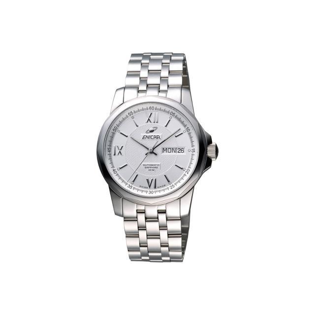 【ENICAR】英納格 羅馬經典日曆機械腕錶-銀/39mm(168-51-326aA)