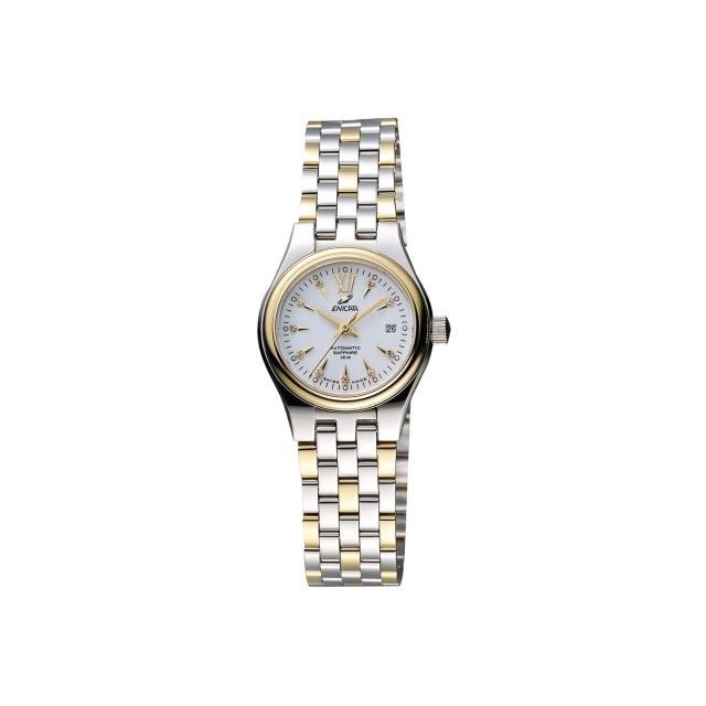 【ENICAR】英納格 傳真系列時尚機械女錶-白x雙色版/26mm(778-50-316GK)
