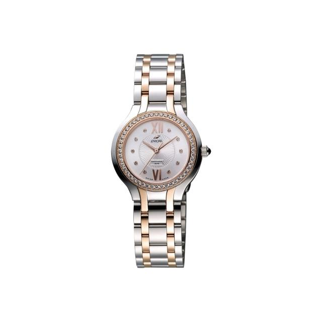 【ENICAR】英納格 典藏時尚晶鑽石英女錶-銀x雙色版/32mm(263-31-128GS)