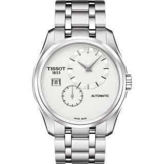 【TISSOT】Couturier 建構師偏心系列機械腕錶-銀/39mm(T0354281103100)