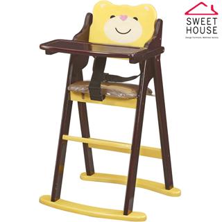 【甜美家】可愛小熊折合寶寶餐椅(全實木製作)