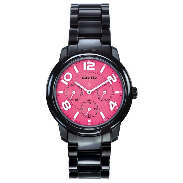 【GOTO】Candy Magic 陶瓷時尚腕錶-IP黑x桃(GC9106M-33-F21)