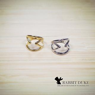 【RD 兔子公爵】現貨 經典歐美風格 個性雙M字型拼接設計第二關節戒指(二色)