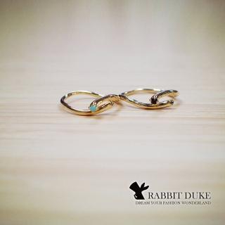 【RD 兔子公爵】現貨 經典歐美風格 個性流線交叉鑲鑽設計戒指(二色)