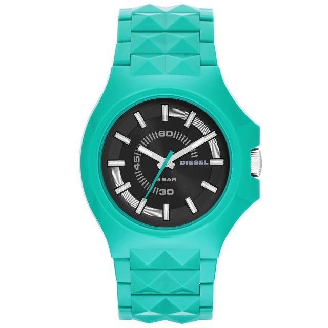 【DIESEL】龐克主義造型腕錶-黑x綠(DZ1648)