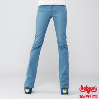 【BOBSON】女款高腰膠原蛋白小喇叭褲(淺藍8083-58)