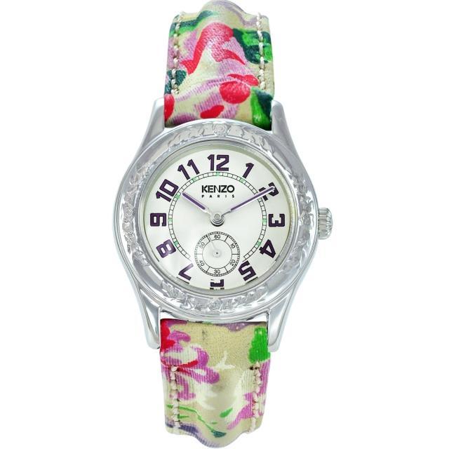 【KENZO】艷麗四射之花樣年華腕錶-薰衣草紫刻度(KN7104FW1)