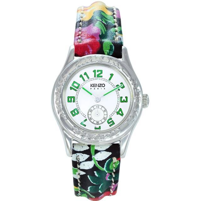 【KENZO】艷麗四射之花樣年華腕錶-樹葉綠刻度(KN7104FB1)