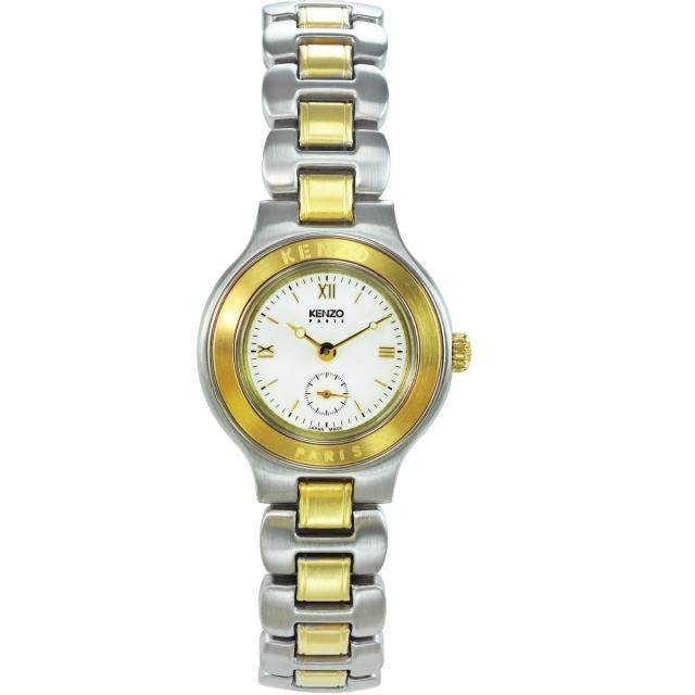 【KENZO】經典知性時尚腕錶-米白色(KN7512B03)