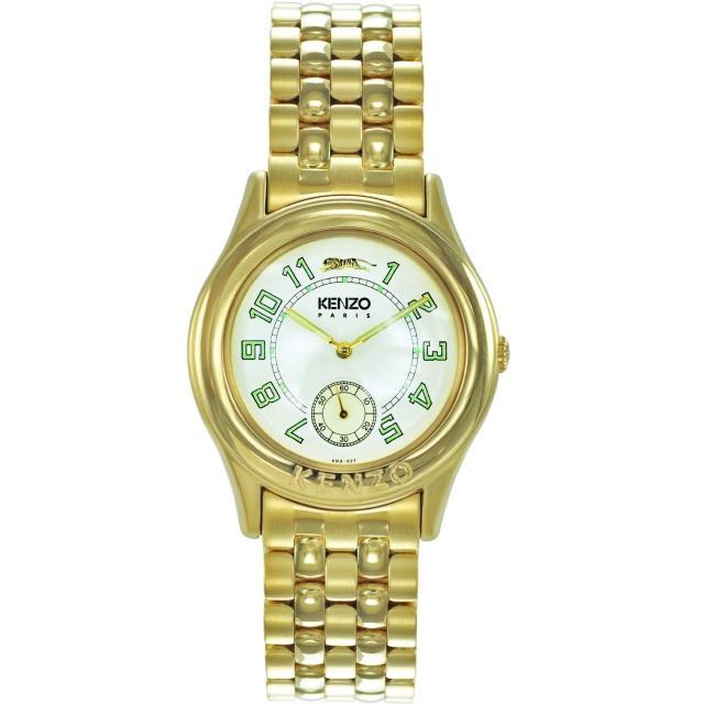 【KENZO】尊爵品味時尚腕錶-金x米白色(KN2801B01)