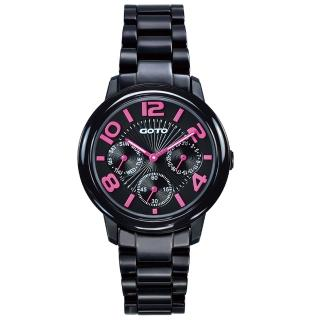 【GOTO】躍色純粹時尚陶瓷腕錶-IP黑x桃刻度(GC6106L-33-3F1)