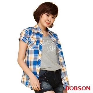 【BOBSON】女款格紋短袖襯衫(藍24137-54)